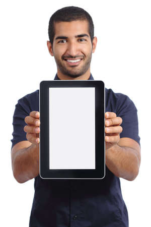 promoter: Arab man showing an app in a  blank tablet screen isolated on a white background Stock Photo