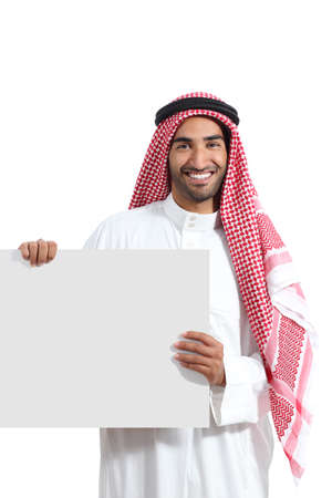 holding head: Arab saudi promoter man holding a blank horizontal sign isolated on a white background