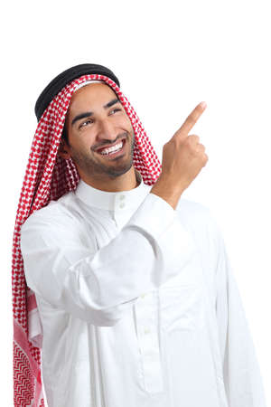 promoter: Arab saudi promoter man presenting pointing at side isolated on a white background Stock Photo
