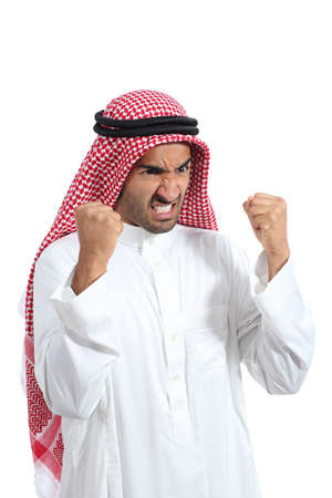 Angry and furious arab saudi man isolated on a white background photo