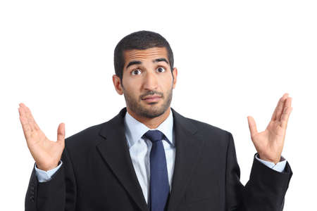 incertitude: Arab business man with a doubt gesturing isolated on a white background