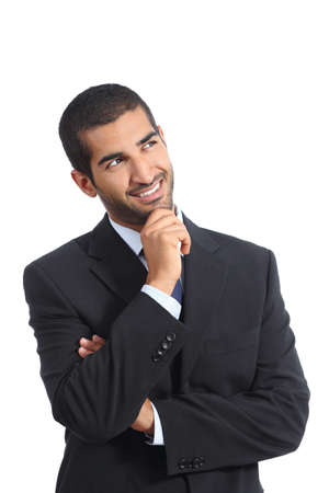 Arab happy business man thinking while looking at side isolated on a white background