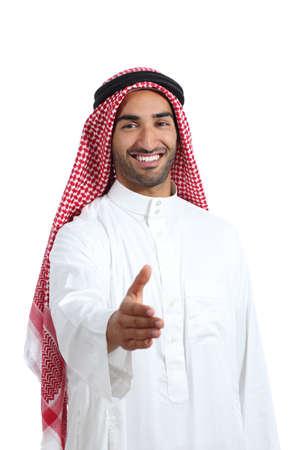 Arab saudi emirates man ready to handshake isolated on a white background photo