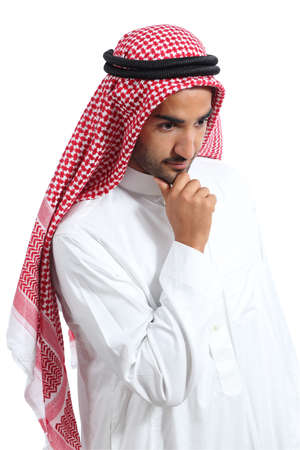 looking down: Arab saudi emirates man thinking and looking down isolated on a white background