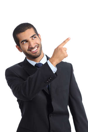 promoter: Arab promoter businessman pointing at side isolated on a white background