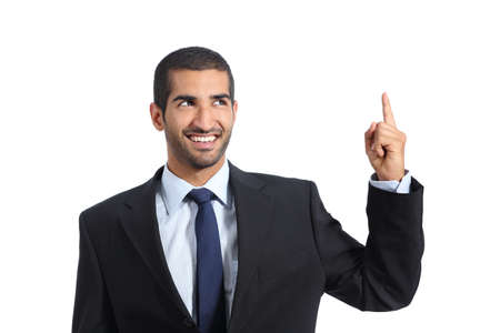 promoter: Arab promoter businessman pointing up isolated on a white background