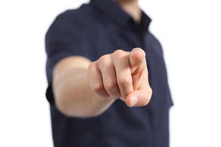 흰색 배경에 카메라를 가리키는 사람 손의 닫습니다
