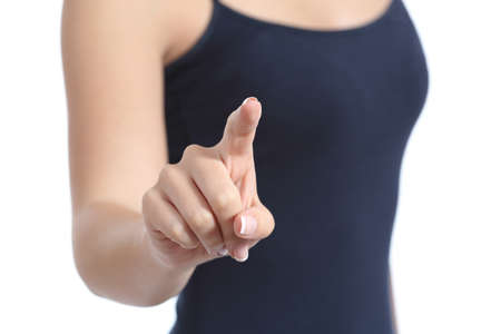 Close up of a casual woman hand checking a virtual button isolated on a white background photo