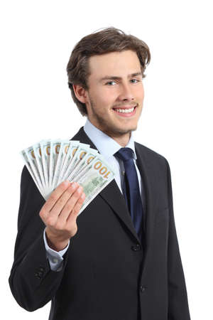 Young happy business man showing money isolated on a white background photo