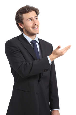 Businessman presenting a promotional blank product on a white background