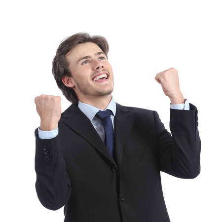 exult: Euphoric successful businessman raising arms isolated on a white background