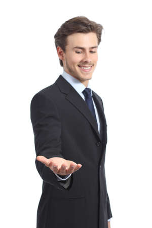 give hand: Happy businessman holding something or a blank product isolated on a white background