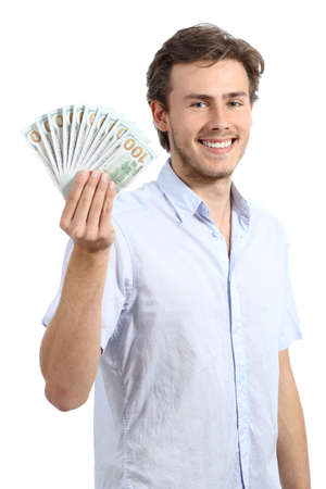 Happy young business man holding dollar banknotes isolated on a white background photo