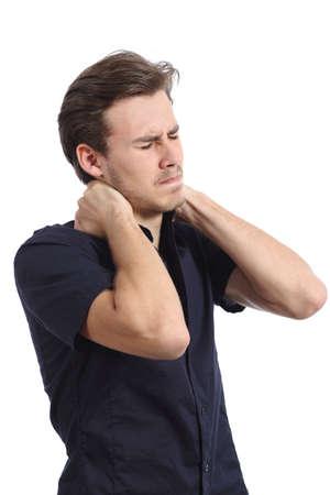 Man lijdt nekklachten een klagen geïsoleerd op een witte achtergrond