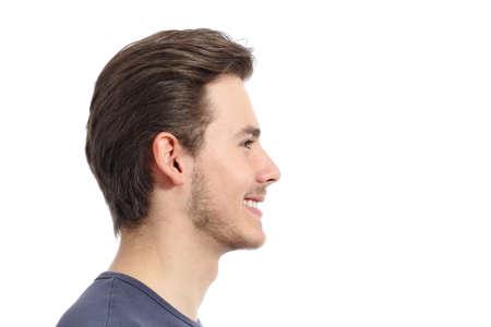 beau jeune homme: Vue de c�t� d'un portrait bel homme du visage isol� sur un fond blanc Banque d'images