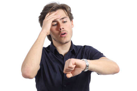 Worried man running out of time on a white background photo