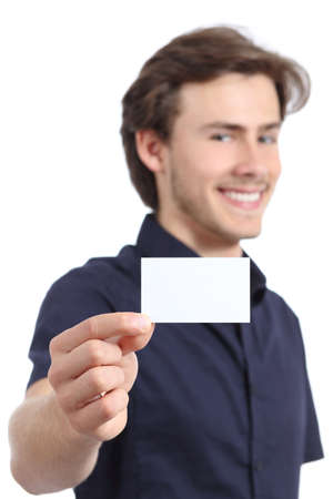 Young handsome businessman holding a blank card on a white background photo