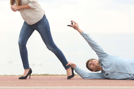 Man being rejected by his girlfriend when is proposing marriage