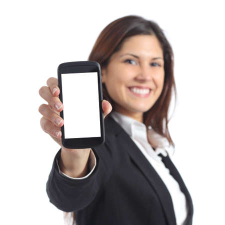 Empresaria que muestra una pantalla de teléfono inteligente en blanco aislado en un fondo blanco Foto de archivo - 37323078