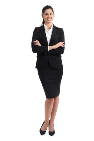 skirt suit: Full body of a business woman standing isolated on a white background Stock Photo