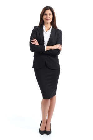 skirt suit: Full body portrait of a confident business woman isolated on a white background
