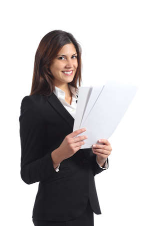 Happy businesswoman holding a report and looking at camera isolated on a white background photo