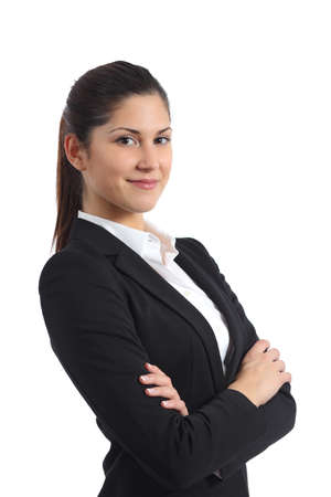 saleswoman: Portrait of a confident businesswoman isolated on a white background Stock Photo