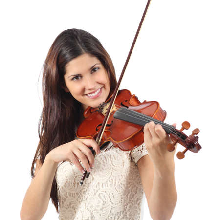 Woman learning to play violin isolated on a white background photo