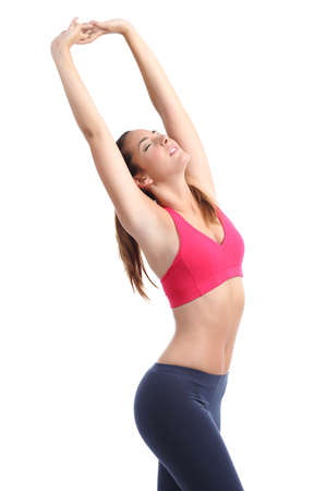 armpit hair: Perfect fitness woman body posing stretching isolated on a white background Stock Photo