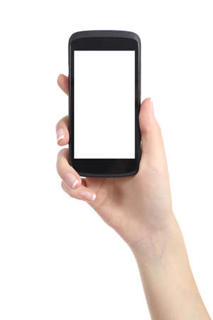 Woman hand presenting a smart phone screen application isolated on a white background Stock Photo