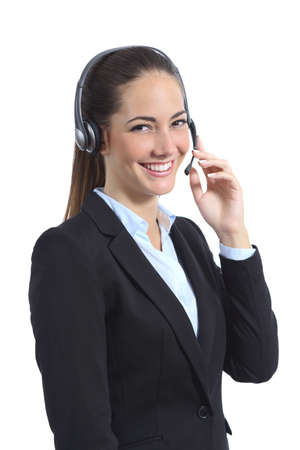 call center agent: Happy operator with headset attending on the phone isolated on a white background Stock Photo