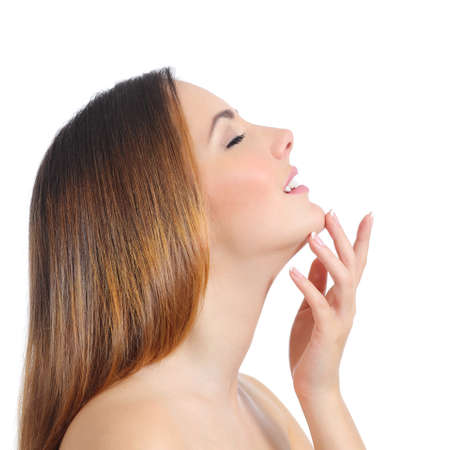 nose close up: Profile of a beauty woman face skin and hand manicure isolated on a white background