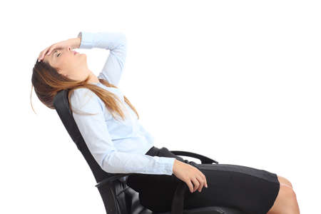 side job: Profile of a tired businesswoman sitting on a chair isolated on a white background