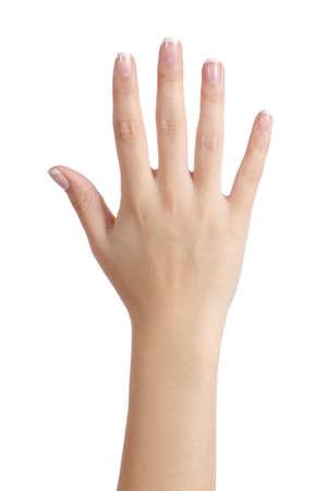 cuerpo perfecto femenino: Mujer mano abierta con manicure franc�s aislado en un fondo blanco Foto de archivo