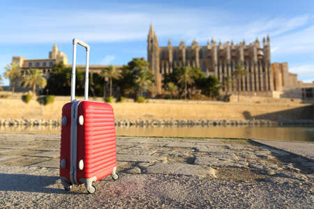 suit case: Tourist concept with a suit case in a touristic place with a cathedral in the background