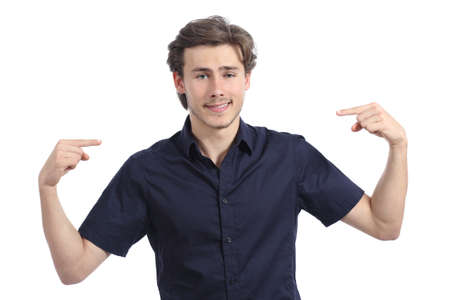 Handsome happy man pointing himself isolated on a white background 版權商用圖片