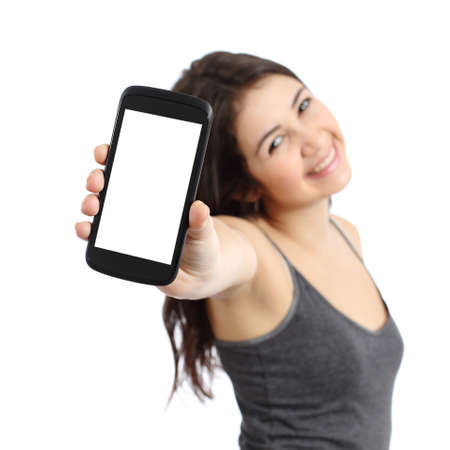 Happy promoter girl showing a blank smart phone screen isolated on a white background