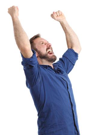 euphoric: Euphoric uomo felice che grida e sollevare le braccia isolato su uno sfondo bianco