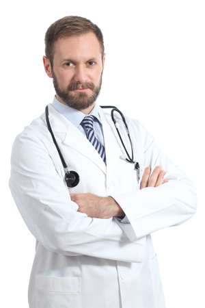 Friendly doctor man posing with folded arms isolated in a white background photo