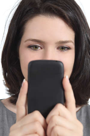 smartphone addiction: Closeup of a woman texting on a smart phone isolated on a white background