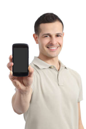 Handsome man showing a blank smart phone display isolated on a white background Stock Photo