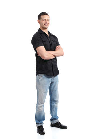 Handsome happy standing man promoting and presenting isolated on a white background 版權商用圖片
