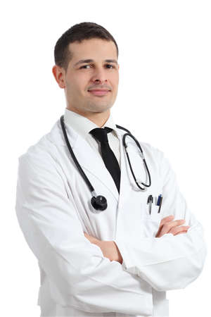 Portrait of a friendly young doctor man isolated on a white background photo