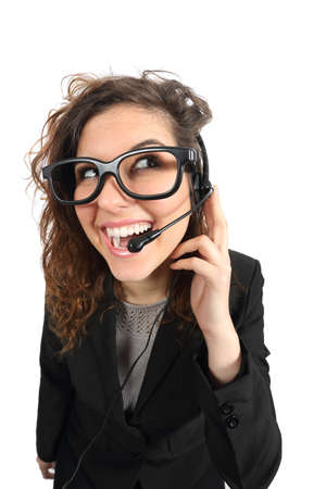 attending: Happy geek telephone operator woman attending a call isolated on a white background