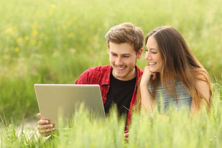 Couple or friends sharing a laptop in a green field photo