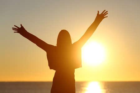 Livre feliz que levanta os braços vendo o sol no fundo ao nascer do sol Imagens
