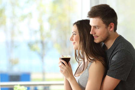 cuddling: Side view portrait of a pensive couple or marriage hugging and looking outdoors through a window of an hotel room or home with the sea in the background