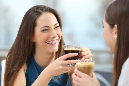 women coffee: Portrait of two women friends talking holding coffee cups in a restaurant Stock Photo