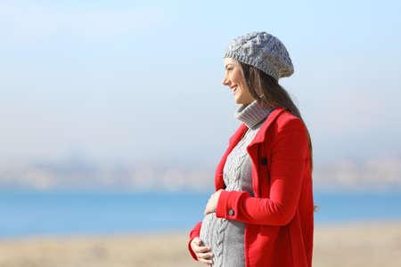 Side portret van een gelukkige zwangere vrouw die een wandeling op het strand in een zonnige winterdag