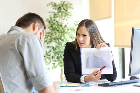 Boze werkgever met een groei grafiek met slechte resultaten en schelden aan een werknemer Stockfoto
